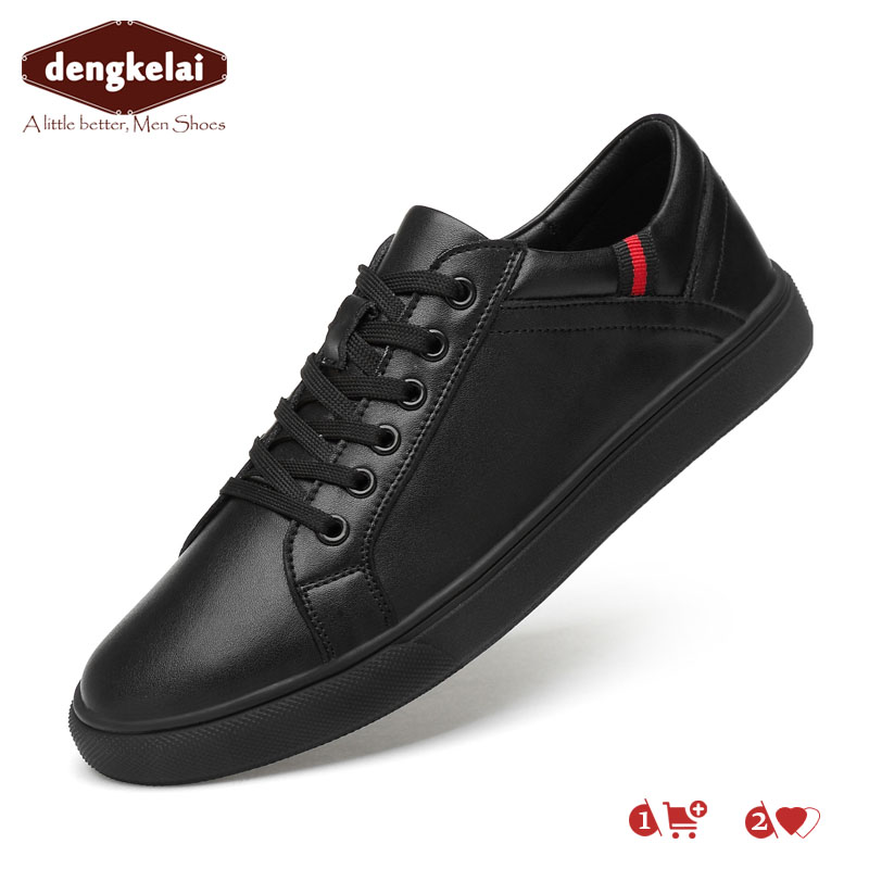 DENGKELAI men casual natural leather shoes soft and comfortable sneakers high quality lace-up black white sneakers 2019DENGKELAI men casual natural leather shoes soft and comfortable sneakers high quality lace-up black white sneakers 2019