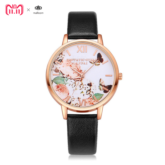 2018 Top Brand LVPAI Watches Women PU Leather Flowers Pattern Quartz Wristwatch