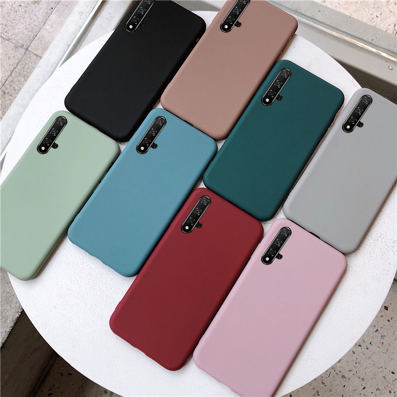 Solid Color Silicone Case For Huawei Y7 Pro Y9 Prime Y6 Y5 2019 P Smart Z P30 Lite P20 Pro Nova5 Honor 20 10i 20i 8A 8C 8X Cover image