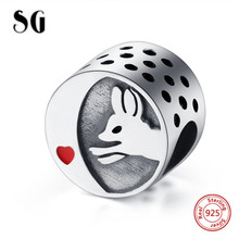 SG new arrival cute animal fox charms pendant chain necklace beads 925 sterling silver diy fashion jewelry making for women gift