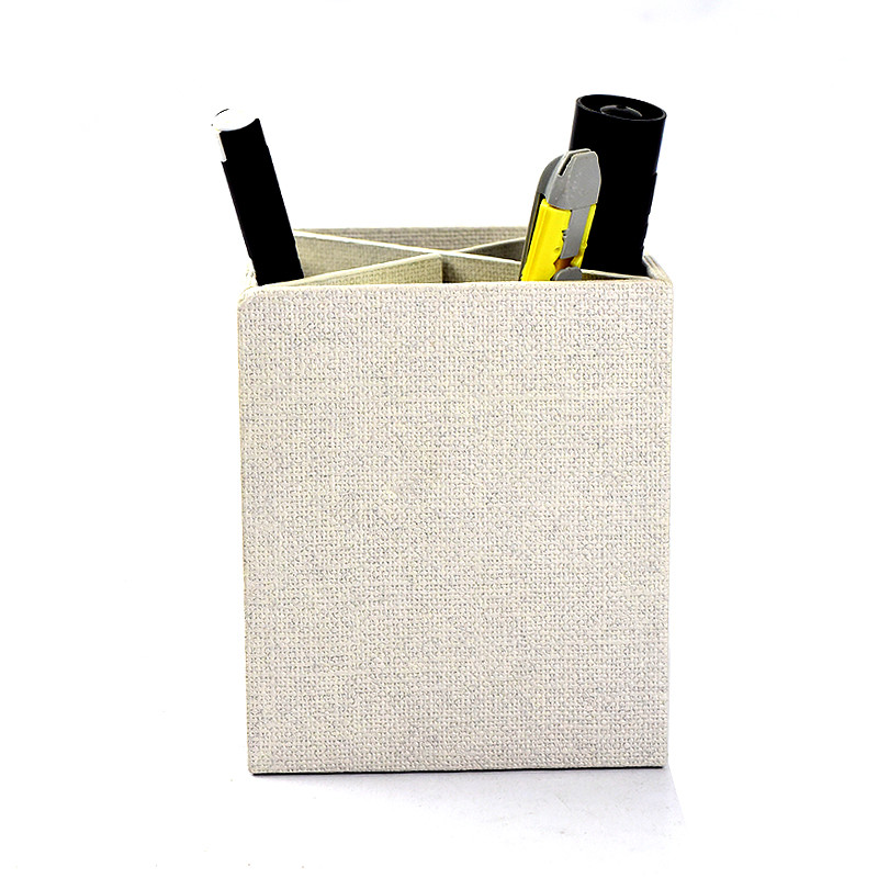 Europe Style Woodgrained Paper Pen Container Creative Linen Paper Office Desk Organizer Storage Box for Stationary/Sundries