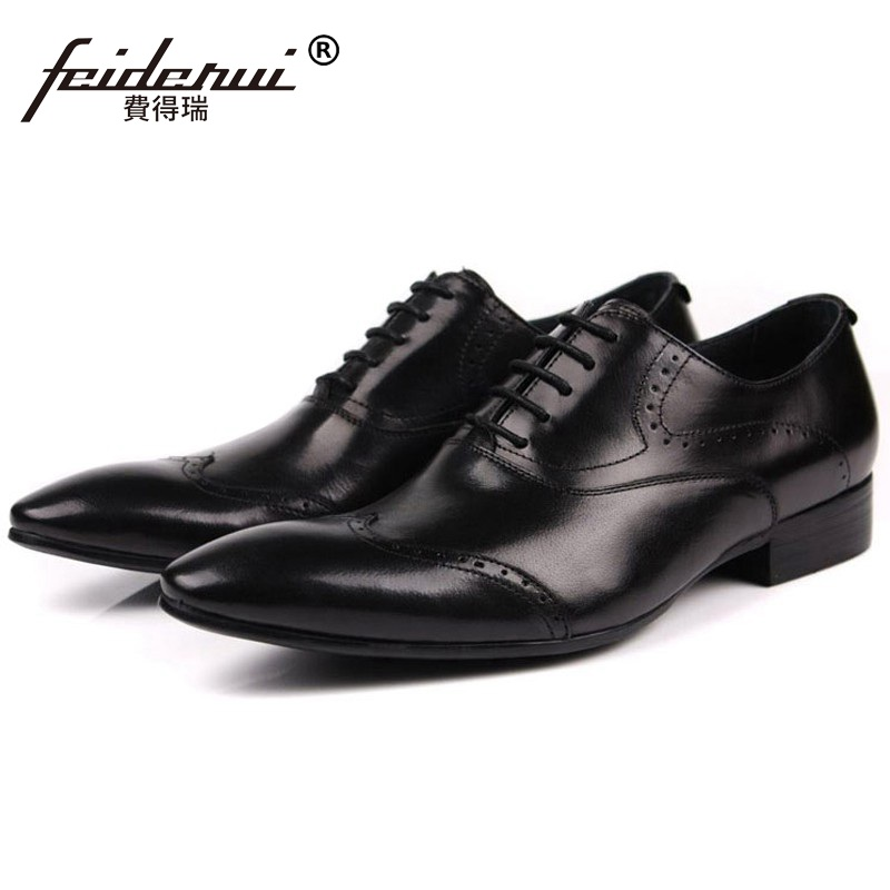 Vintage Brand Man Carved Brogue Shoes Genuine Leather British Oxfords Pointed Toe Laced Mens Handmade Male Wing Tip Flats BD99Vintage Brand Man Carved Brogue Shoes Genuine Leather British Oxfords Pointed Toe Laced Mens Handmade Male Wing Tip Flats BD99