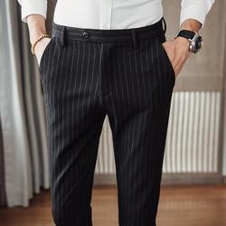 Новинка 2018 года осень полосатые штаны для мужчин's Бизнес повседневные штаны для стройных Корейская версия тренда мужчин ноги костюм брюки