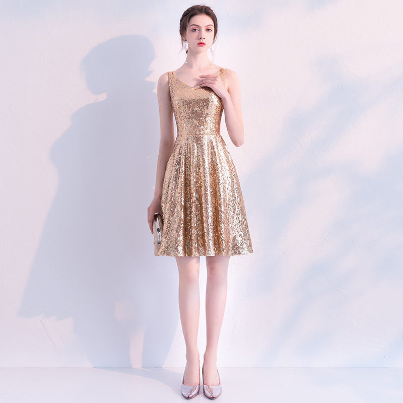 2019 New Gold   Cocktail     Dress   Cheap V Neck A Line Sleeveless Zipper Graduation Party   Dress   Elegant Fashion   Cocktail     Dress   LYFY03