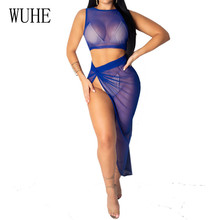 WUHE Two Pieces Sets Perspective Mesh Dress Sexy Hollow Out Sleeveless High Split Irregular Summer Women Elegant Vertidos