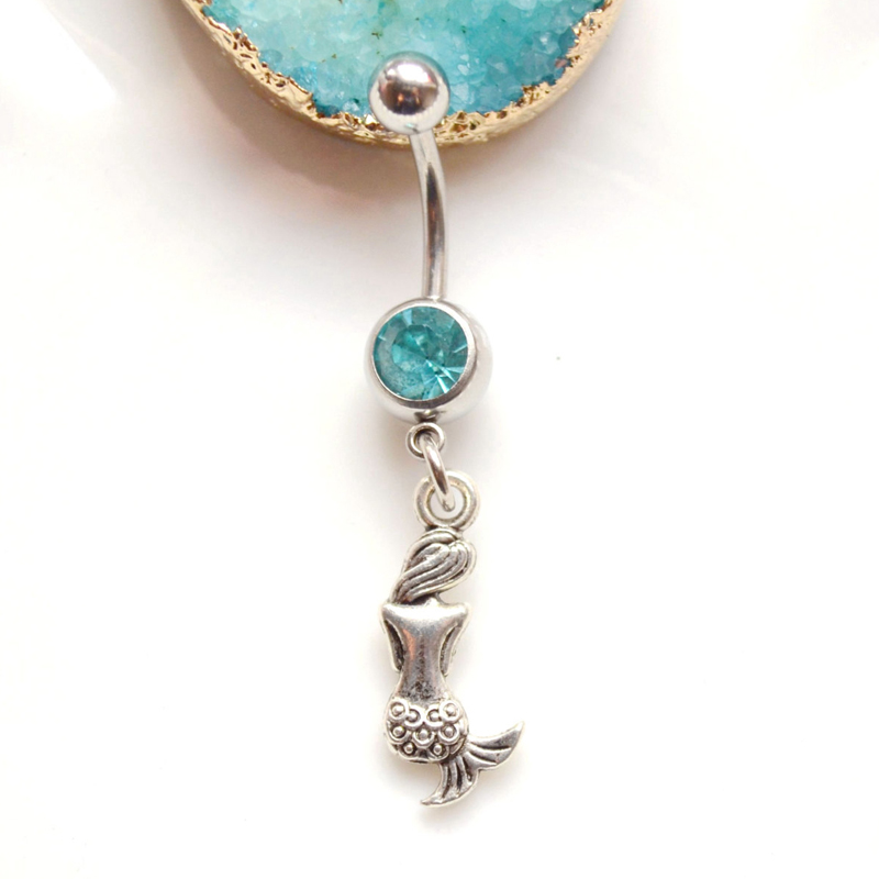 Silver Mermaid Belly Button Ring Vintage Navel Piercing -5956