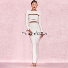 Round Neck Long Sleeve Mesh Back Slit Evening Bandage dress