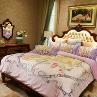 Beautiful manor Digital printing Luxury Bedding sets 4Pcs Queen King Size flannel bedlinens Duvet Cover Flat Sheet Pillow Cases