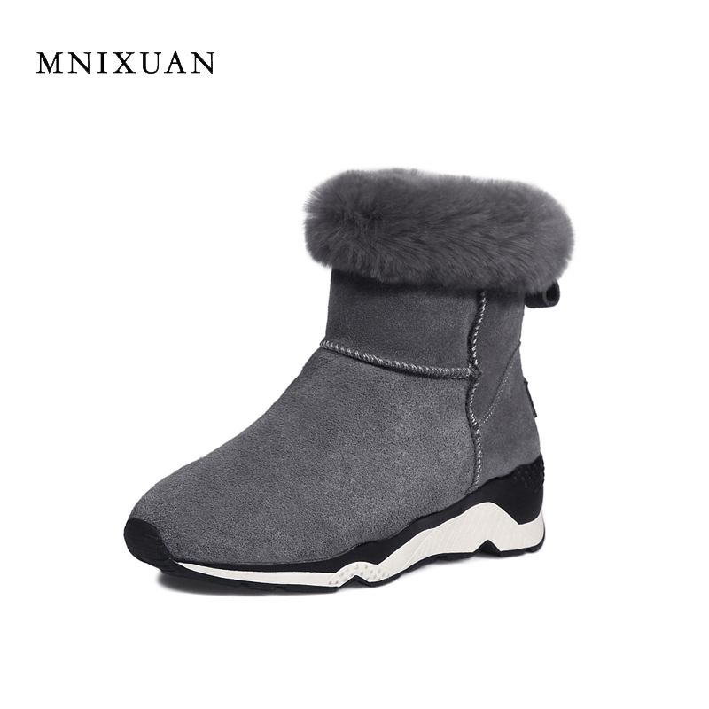 MNIXUAN snow boots women waterproof 2017 winter new genuine leather round toe warm with plush medium heels 5cm wedges big size9 only true love new arrival genuine leather women fashion flat heels equestrian snow boots round toe women boots
