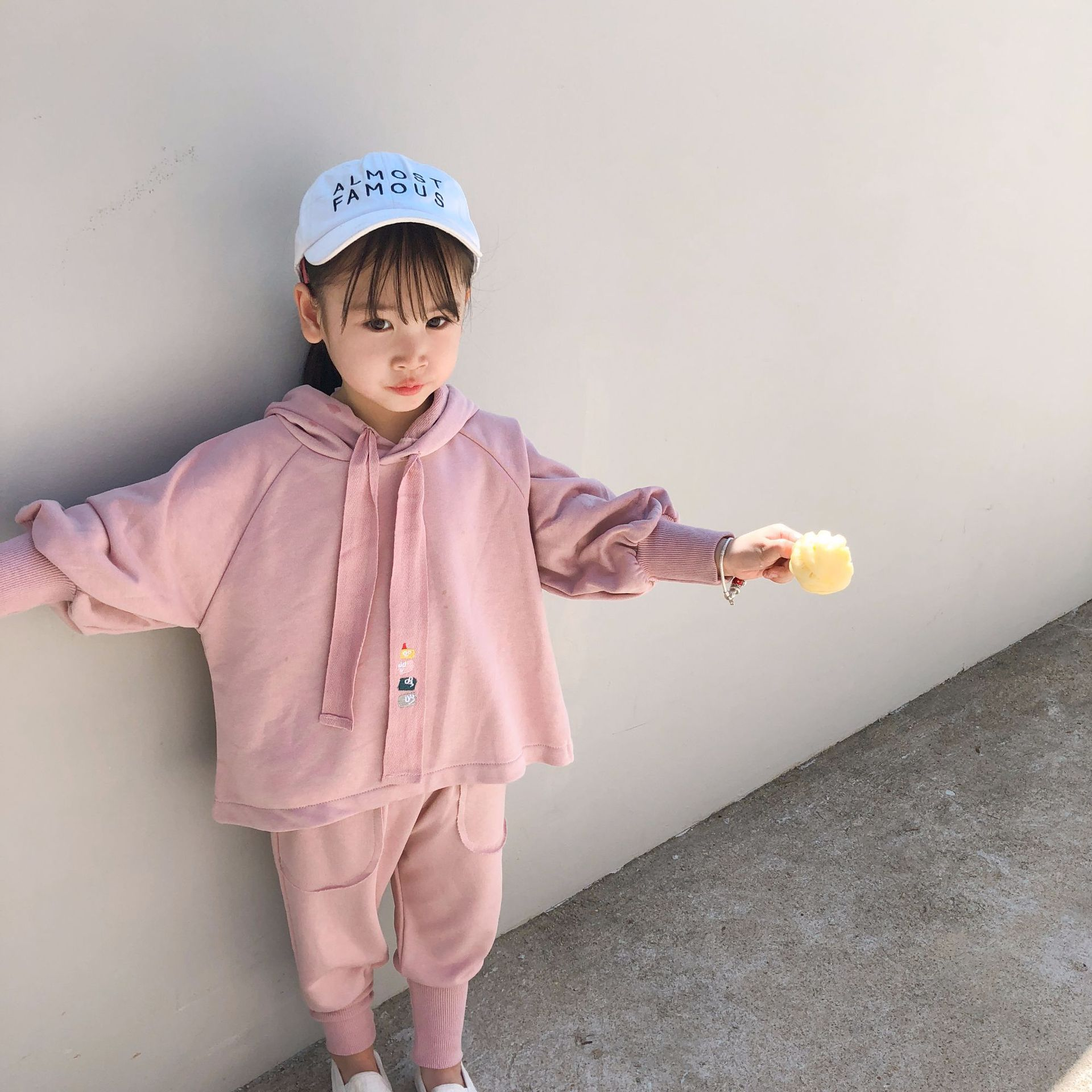 2019 Spring New Arrival Korean Style Cotton Clothing Sets Hooded Hoodie With Harlen Long Pants Fashion Suit For Cute Baby Girls Buy One Get One Free