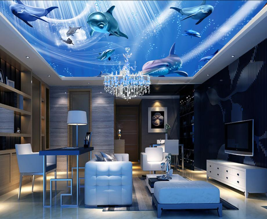 3d Wall Paper For Living Room Underwater World Dolphins Non Woven Sticker Ceiling Wallpaper Murals