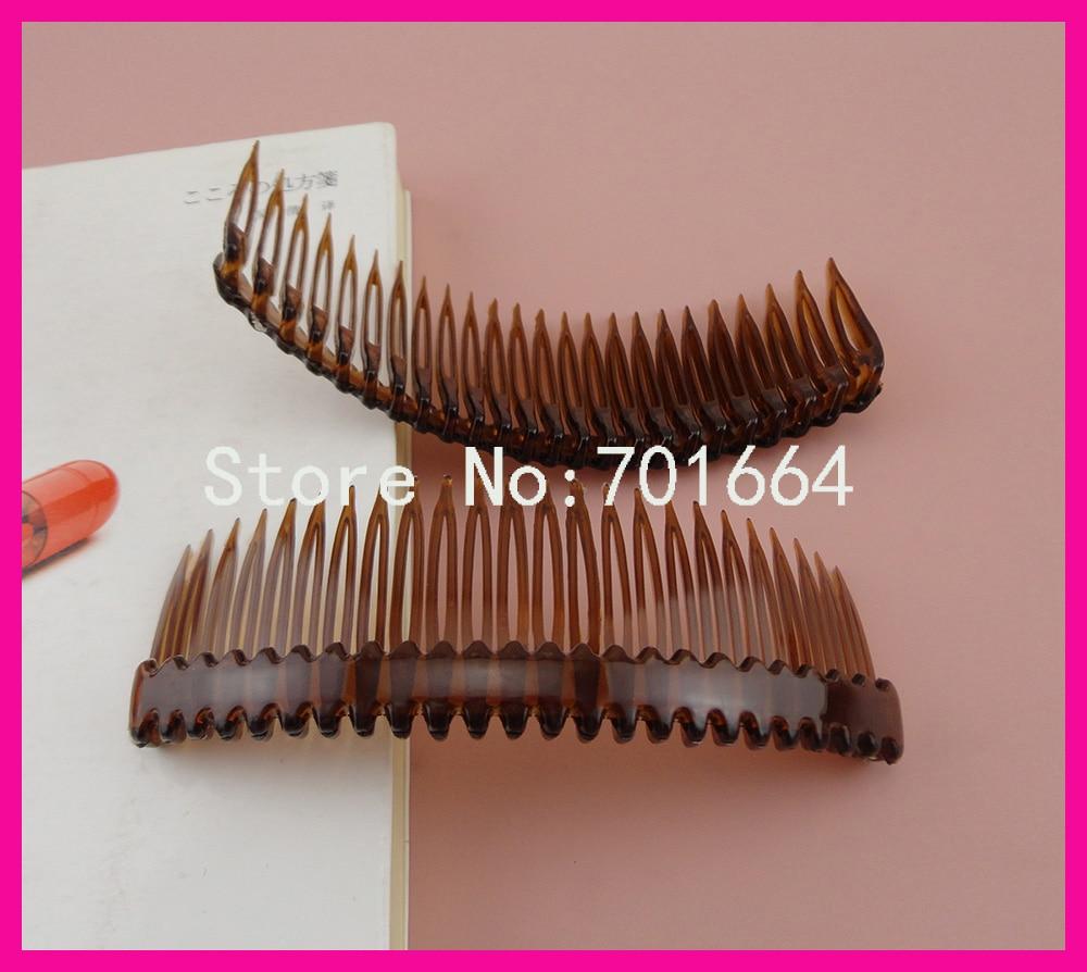 10PCS 4.5cm*12.0cm 24teeth Transparent Dark brown Plain Plastic Hair Combs Waved Bar for diy hair accessories,side combs clear