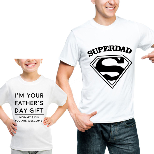 0f600616 New Arrival Family Matching Clothes T Shirt Daughter Father And Son Super  Hero Dad letter Print Cotton Short Sleeve Pai e Filho