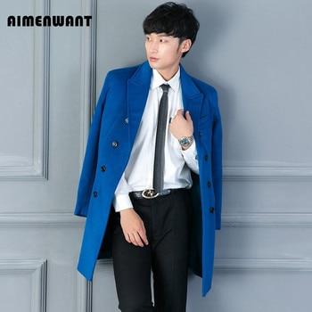 AIMENWANT Brand High Quality Lake Blue Woolen Coat Mens Causal Business Long Black Wool Trench uk Male Slim Fashion Overcoat