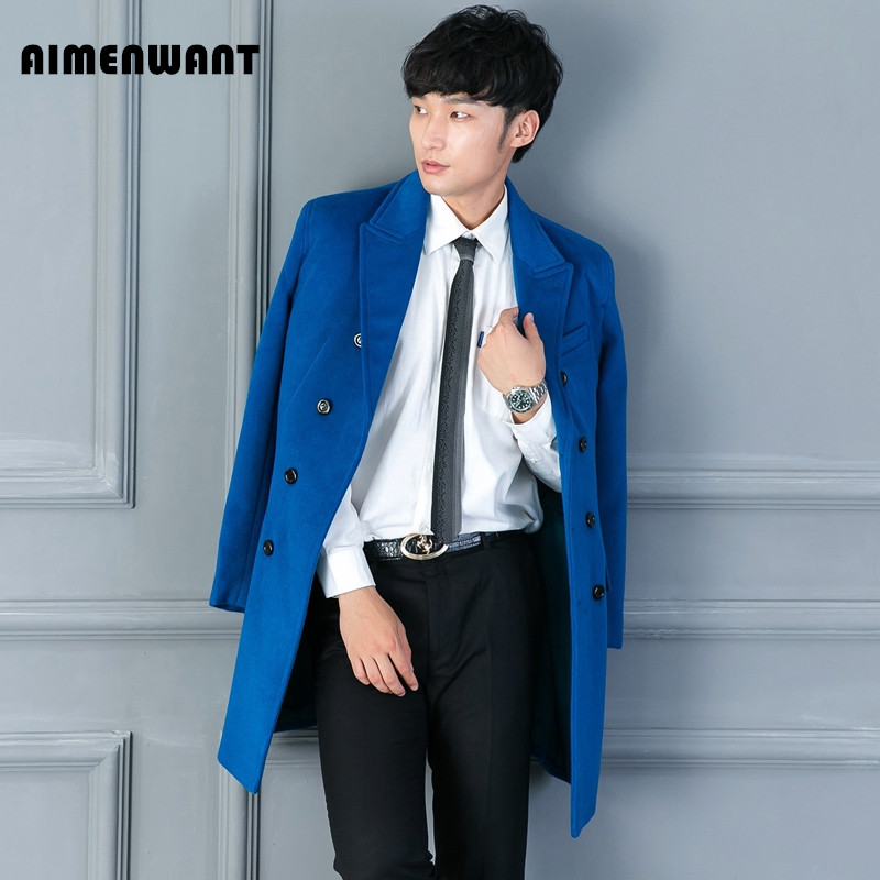 AIMENWANT Brand High Quality Lake Blue Woolen Coat Mens Causal Business Long Black Wool Trench uk Male Slim Fashion Overcoat