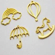 Regenbogen Regenschirm Öffnen Einfassungen Schmuck Erkenntnisse Anhänger Zubehör Hohl Ballon Pferd Metall Rahmen DIY Handgemachte UV Harz Handwerk
