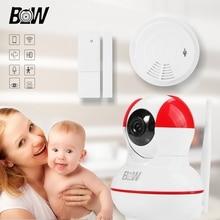 HD Wifi Cámara de Seguridad IP POE Nido Mini Cámara de Vídeo Cámara de Vigilancia + Sensor de Puerta Inalámbrico/Humo Detector de Alarma BW12R