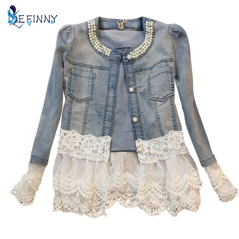 2017 Stitching Lace Stitching Long-sleeved Denim Jacket Large Size Jeans Long Sleeve Women's Jacket Women's Outerwear Plus size