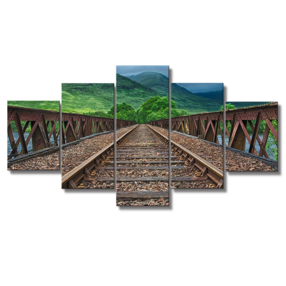 Gemälde auf Leinwand Bahnstrecke Landschaft Wand Bilder für ...