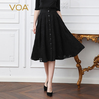 VOA Silk Embroidery Skirts Black Midi A Line Skirt Women Plus Size 5XL Basic Solid Office Casual Summer High Waist Ruffle C303