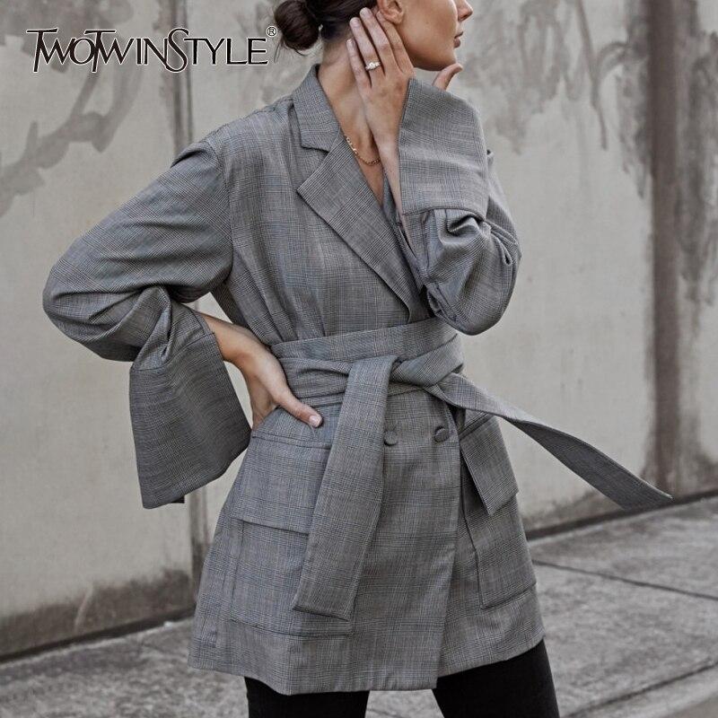 Здесь продается  TWOTWINSTYLE Belt Blazer Female Plaid V Neck Split Flare Sleeve High Waist Double Breasted Coat For Women Spring Fashion OL 2018  Одежда и аксессуары