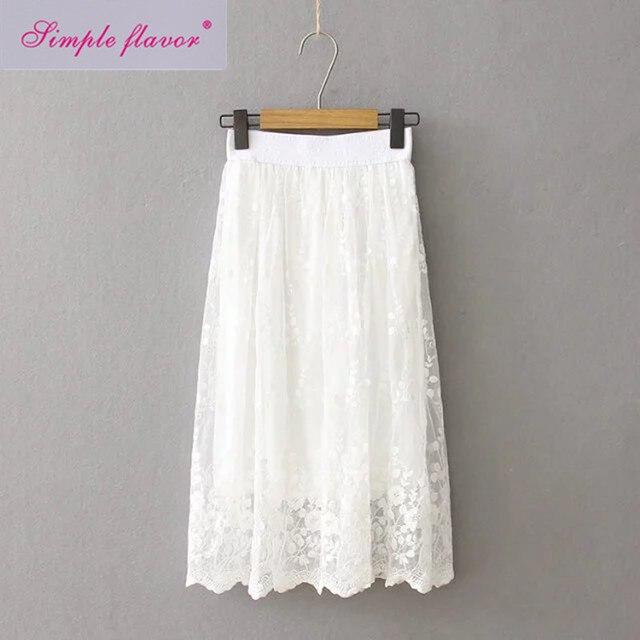 2 Layers New Summer Tulle Skirt Saia High Waist Floral Chiffon White Lace  Skirts Womens Jupe Faldas Maxi Long Tutu Skirt C2931 bc19e3f65f41