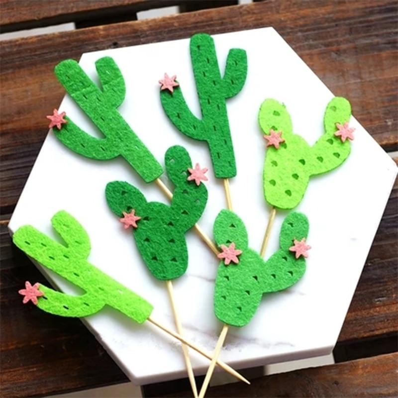 Amawill 6pcs Green Cactus Cupcake Topper Summer Hawaii