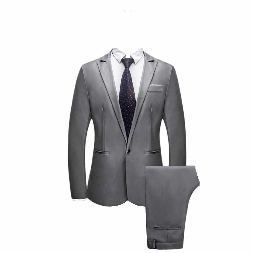 2019 Новый Arrvial весенне-осенний костюм мужские с брюками для свадьбы тонкая на кнопках костюм однотонное платье-пиджак Trajes Hombre Vestir