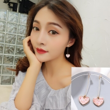 New Korean Pink Sweet Zircon Heart Earpiece