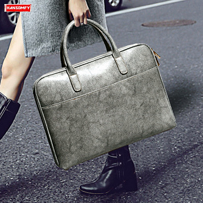 New Genuine Leather Women Handbags Ladies 14 Inch Laptop Bag Official Business Briefcase Smooth Leather Shoulder Crossbody Bags