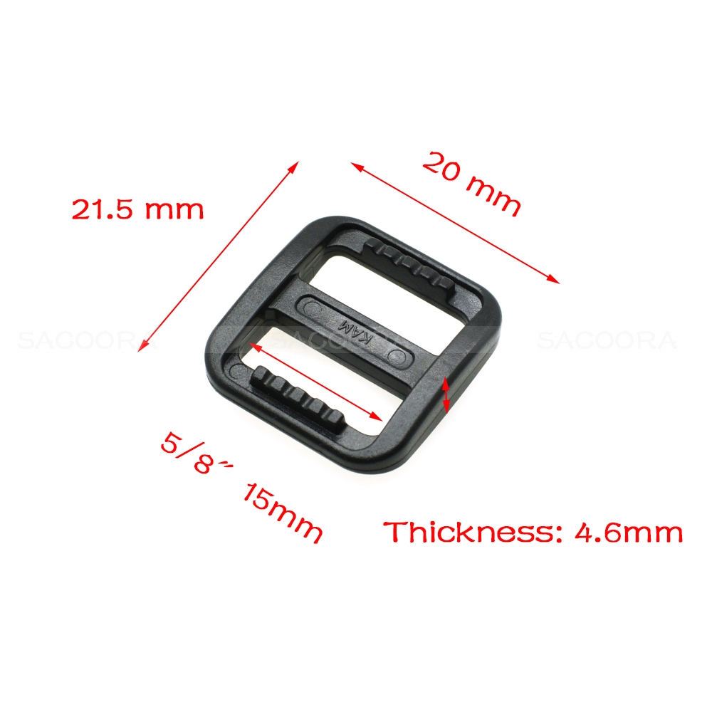Buckles & Hooks Aspiring 5/8 Plastic Slider Tri Glide Adjust Buckles For Dog Collar Harness Backpack Straps Webbing 15mm Black Luxuriant In Design