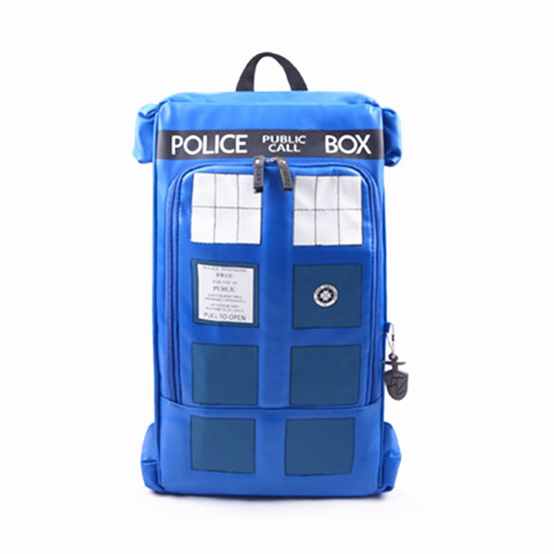 High Quality Doctor Dr Who Tardis Police Box Backpack Bag Call Box PU Leather with tag female man shoulder bag цена