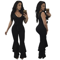 HOOYI 2017 Autumn Women Skinny Jumpsuits Solid Color Bow Plus Size Sleeveless Rompers Black One Piece