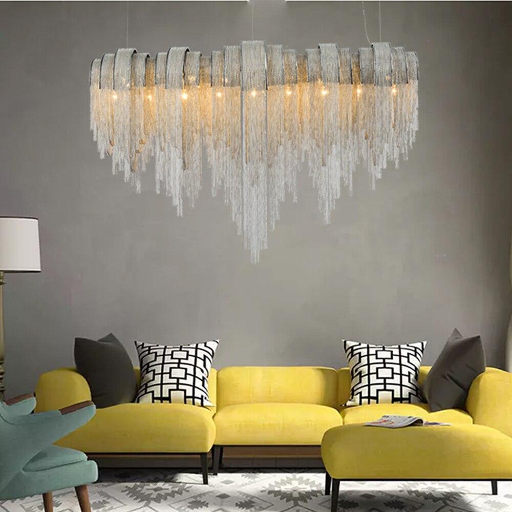Lustre moderne gland éclairage chaîne en aluminium lustres luminaires suspendus luminaires pour la maison hôtel Restaurant décoration