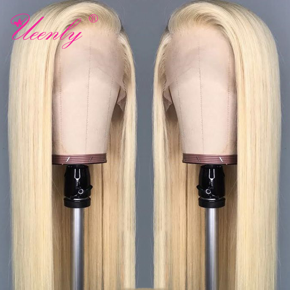 Human-Hair-Wigs Lace-Front-Wig Blond Bleached Knots Pre-Plucked Straight Brazilian 13x4