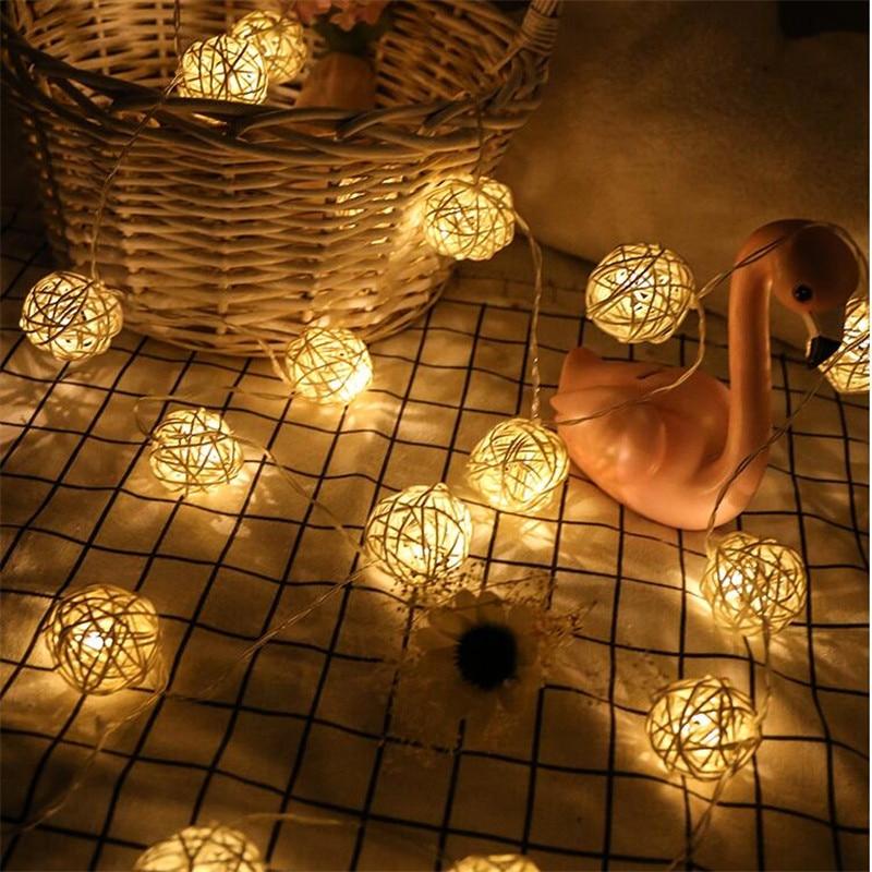 4M 20 LED EU/US Warm White Rattan Ball LED String Lighting Holiday Christmas Wedding Party Curtain Decoration Lights Drop