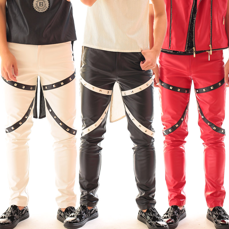 Plus Size Men's Leather Pants Performance Wear Male Singer Dj Gd Punk Rivets Black White Red Leather Trousers Stage Show Costume