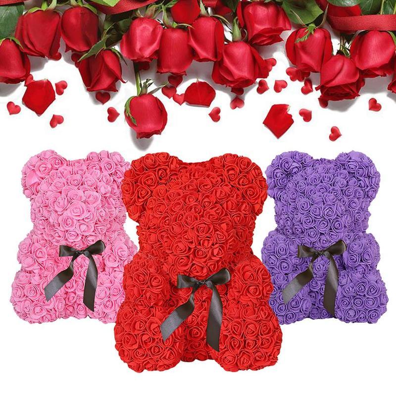 23 cm Schaum Rose Bär für Valentinstag Geschenk für Liebhaber 8 Farben Mini Bär von Rosen Geschenk Für kinder Hochzeit Party Dekoration