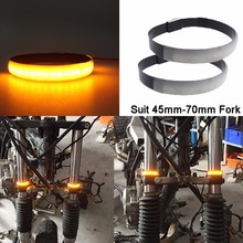 Mayitr 2pcs/set Amber LED Motorcycle Motorbike Fork Turn Signals Light Strip For Clean Custom Look