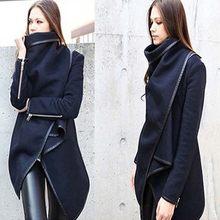 a50b502b27 Moda jesień zima kobiety z długim rękawem Lapel wełna mieszanka płaszcz  asymetryczna długa kurtka płaszcz znosić