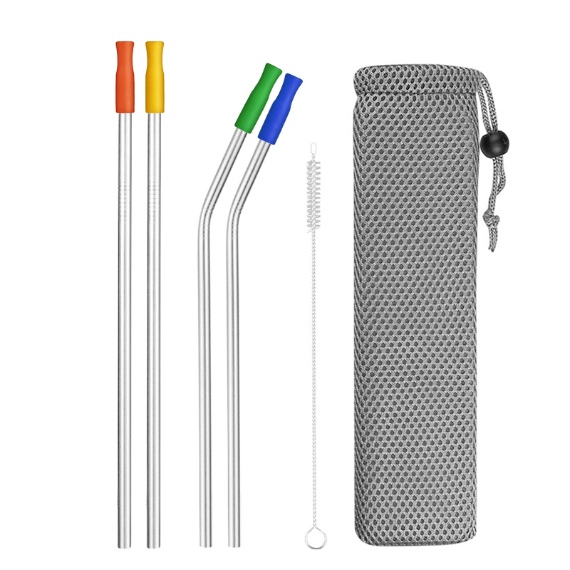 4/8Pcs Colorful Reusable Drinking Straw High Quality 304 Stainless Steel Metal Straw With Cleaner Brush For Mugs 20/30oz
