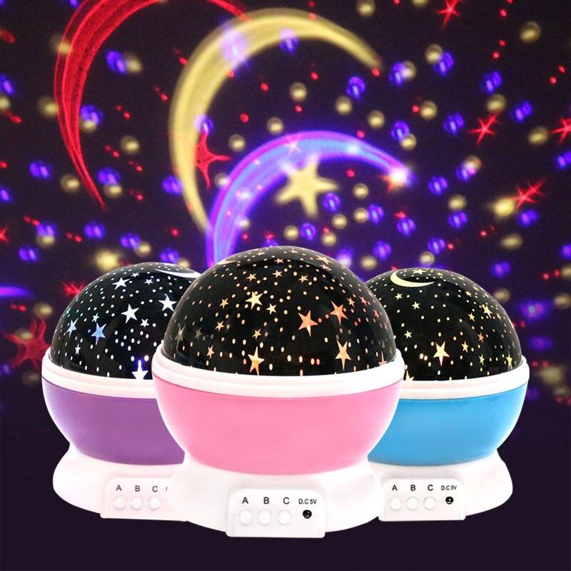 Brinquedos da novidade Luminosa Romântico Céu Estrelado Luz Da Noite LEVOU Projetor USB Bateria Luz Da Noite Criativo presente de Aniversário Brinquedos Para Crianças