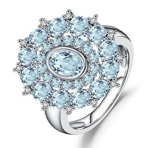 Image 5 - Gems Ballet Natural Sky Blue Topaz Gemstone Ring 925 Sterling Silver Vintage Flower Rings For Women Fine Jewelry