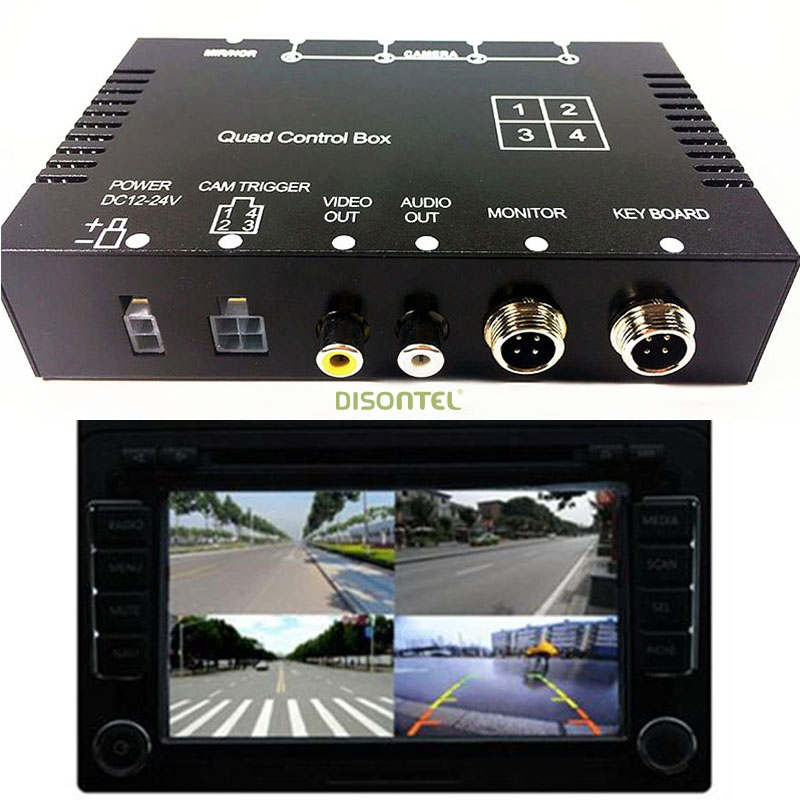 for Bus trunk 4 channel Car camera Split Controll box Real-time video Quad processor for Front Rear side view Split-Screen buttoned split front skirt