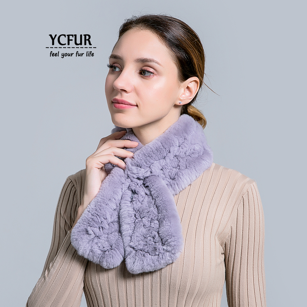 73cb570b6ab36 YCFUR Winter Neck Warmer Ring Scarf Ladies Handmade Knit Real Rex Rabbit Fur  Scarves For Women