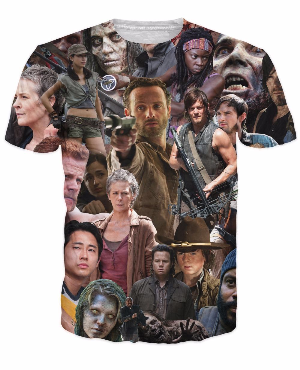 2015 New Arrive The Walking Dead Paparazzi T-Shirt Rick Grimes Carl Daryl Michonne zombi ...