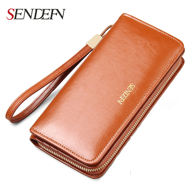 Quality Leather Women Wallets Large Capacity Wallet Female Clutch Phone Pocket Purse Card Holder vintage