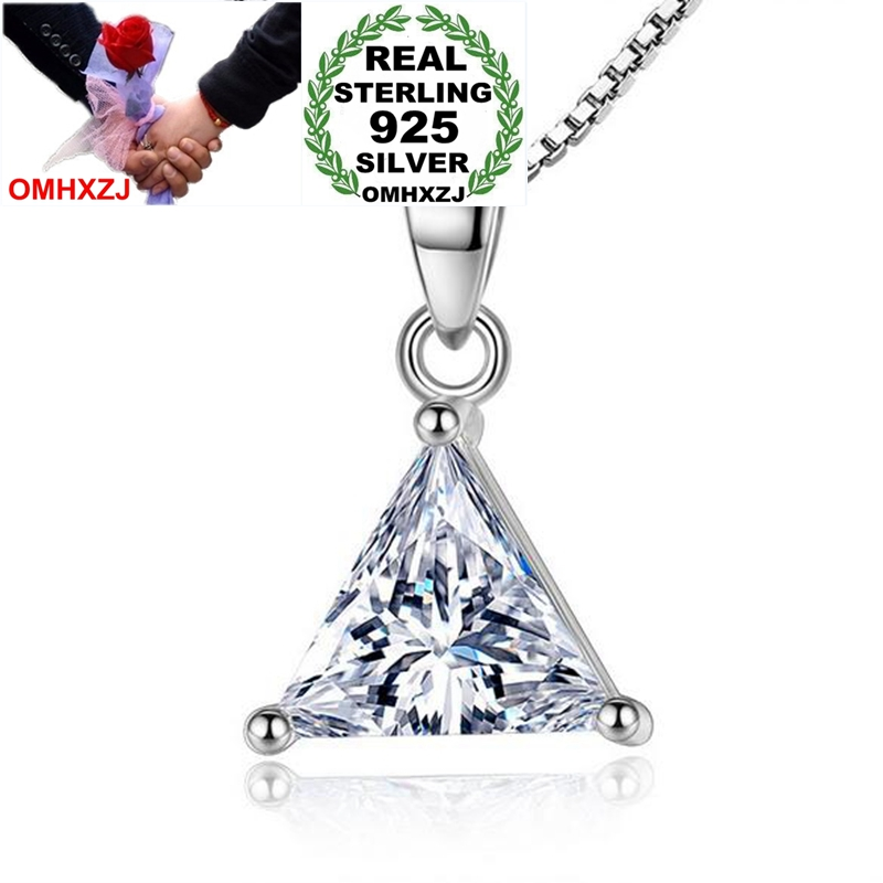 OMHXZJ Wholesale Fashion Classic Triangle Zircon For Woman Gift White 925 Sterling Silver Pendant Charms PE137 NO Chain Necklace