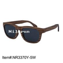 Strong grey polarized lenses zebra layered wood sunglasses