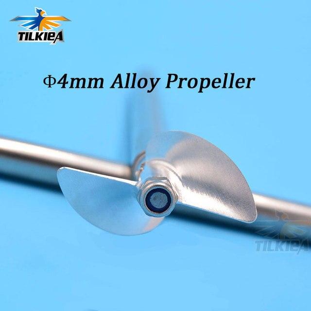 Cnc Aluminium Propeller Metalen Schroef 2 Blades Prop Legering Schroef 430/32/33/34/35/36/37/38/39/40/41/42/43/44/45 Mm voor 4 Mm Prop As